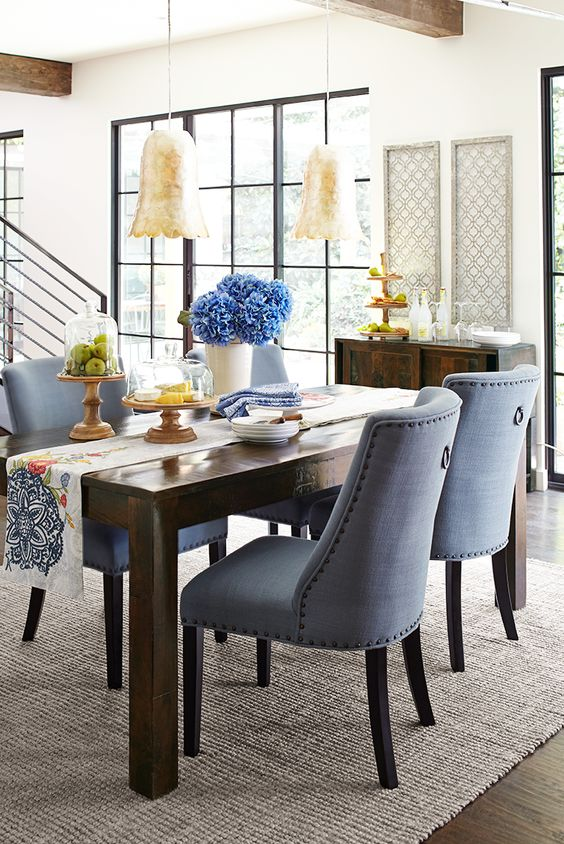 Corinne Collection Linen Cornflower Dining Chair Pier 1